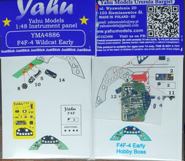 Coloured PE instrument panels: F4F-4 Wildcat Early type (Hobby Boss) / 1:48